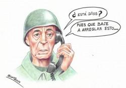 Caricatura de Miguel Gila hecha por El Lápiz Loco