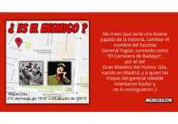 Petición para cambiar la calle General Yagüe por Humor de Gila