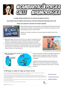 Hoja informativa de cambio de calle General Yagüe a Humor de Gila