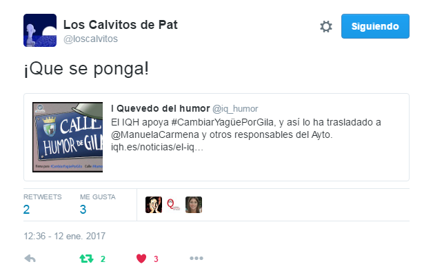 Apoyo de Calvitos a calle Humor de Gila