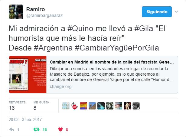 Apoyo de Ramiro Argañaraz a la iniciativa #CambiarYagüePorGila #HumorDeGila