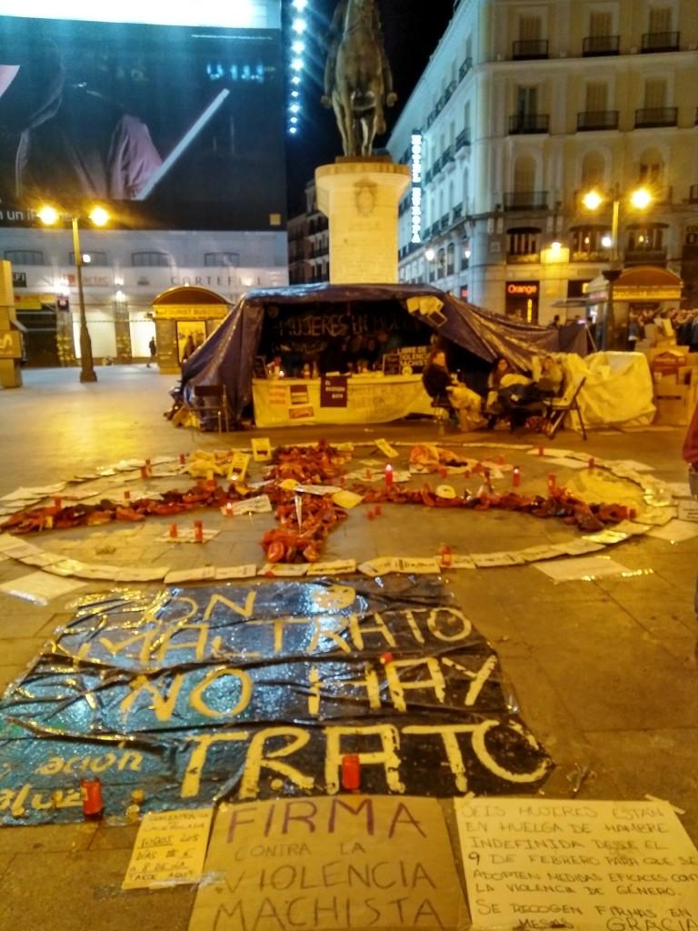 Huelga de hambre contra la violencia machista en Sol