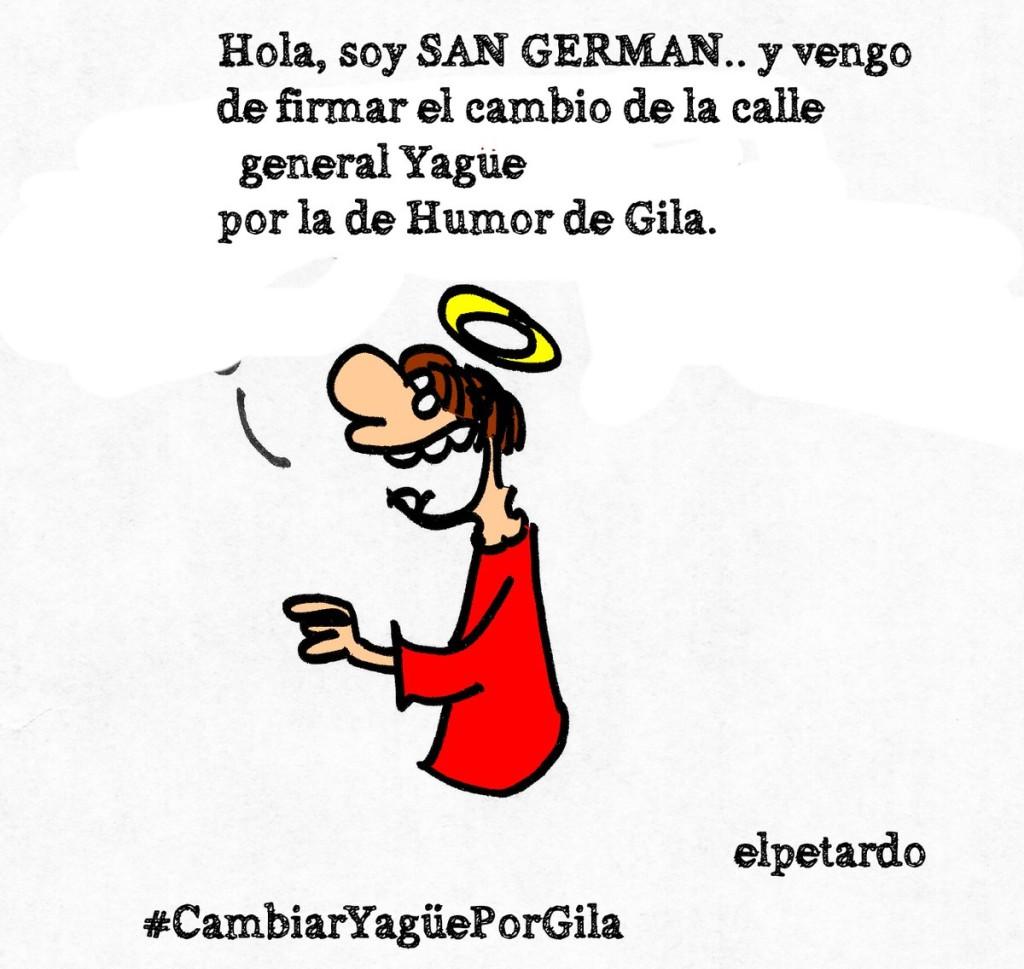 Apoño viñeta de El Petardo a la iniciativa #CambiarYagüePorGila Calle #HumorDeGila