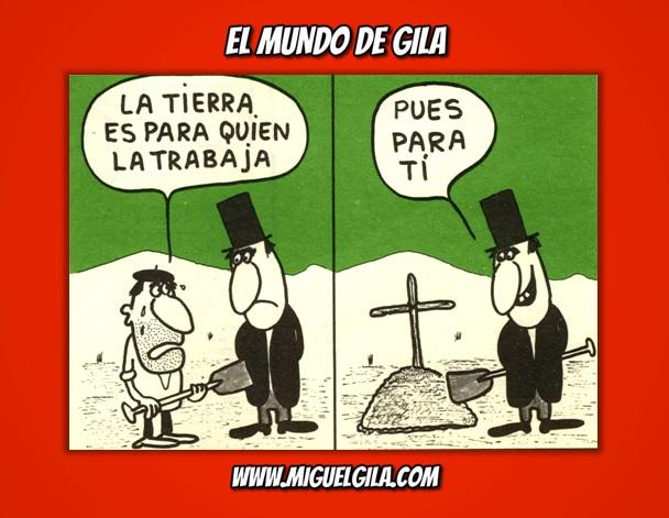 Viñeta de Miguel Gila - Chistes gráficos - Ricos y pobres - La tierra es para quien la trabaja  5-10-1974 #HermanoLobo