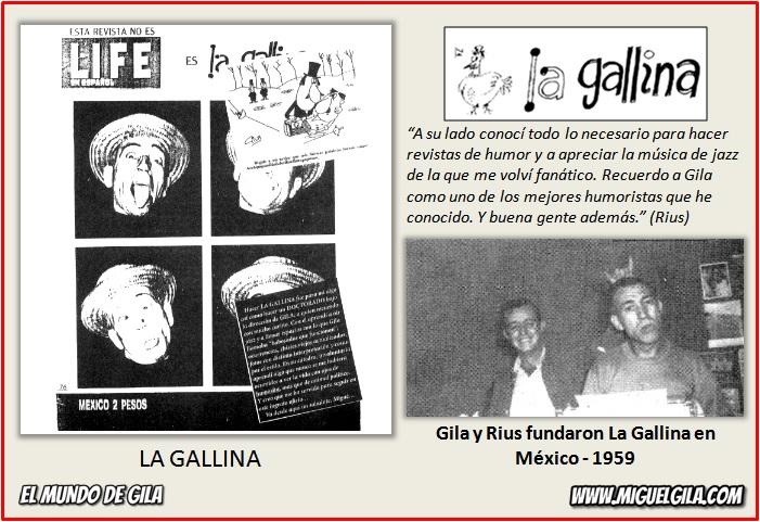 Rius y Miguel Gila fundaron la revista La Gallina