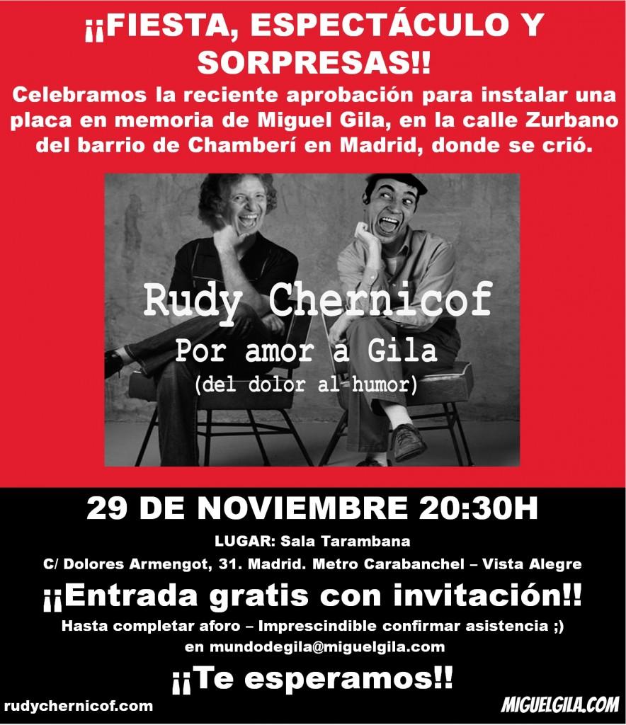 """Fiesta y espectáculo """"Por amor a Gila"""" 29 de noviembre"""
