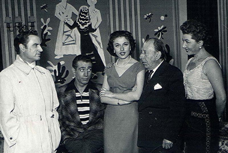 Miguel Gila con Angelillo, Lolita Sevilla, Pepe Isbert y Tony Soler en Tremolina