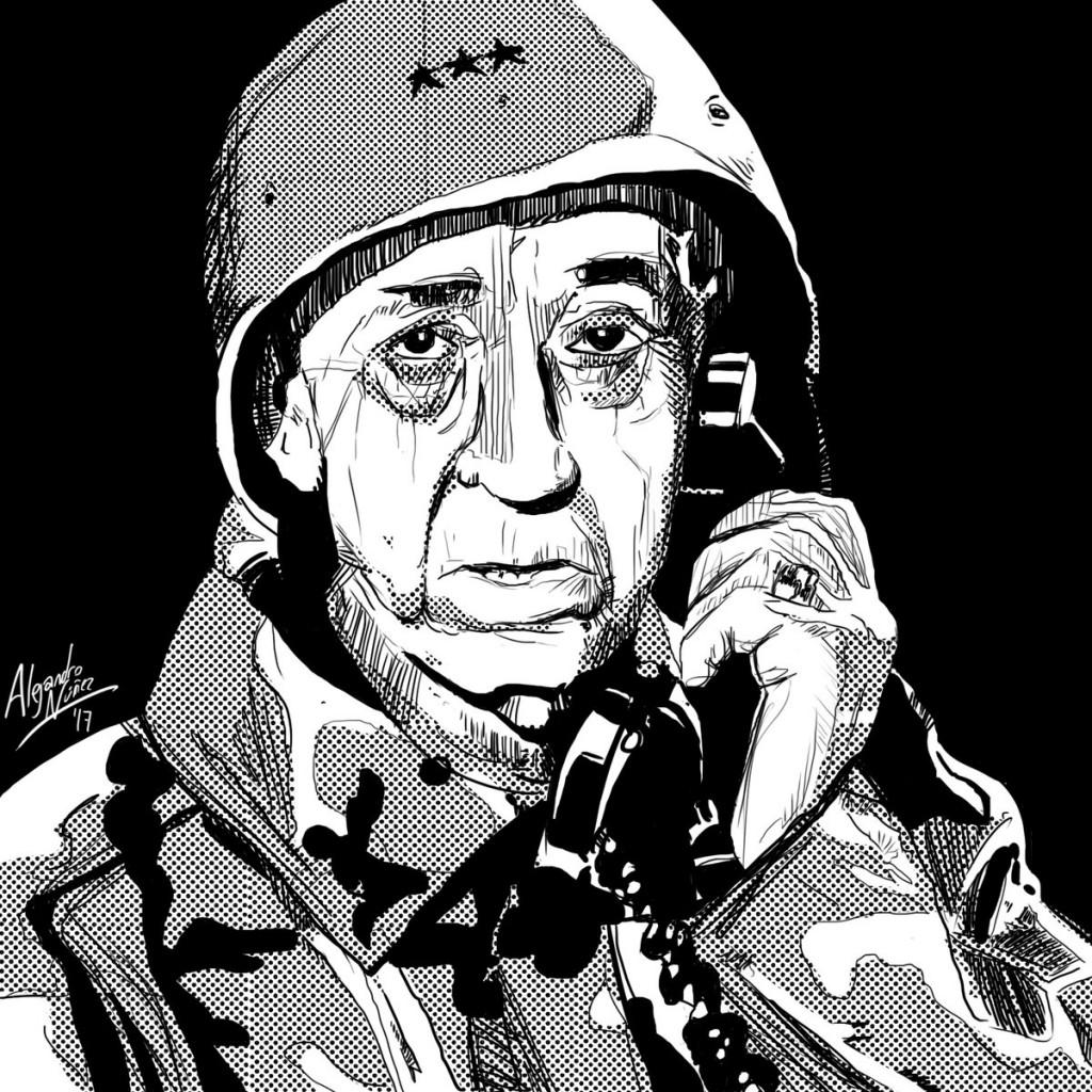 Caricatura de Miguel Gila realizada por Alejandro Núñez