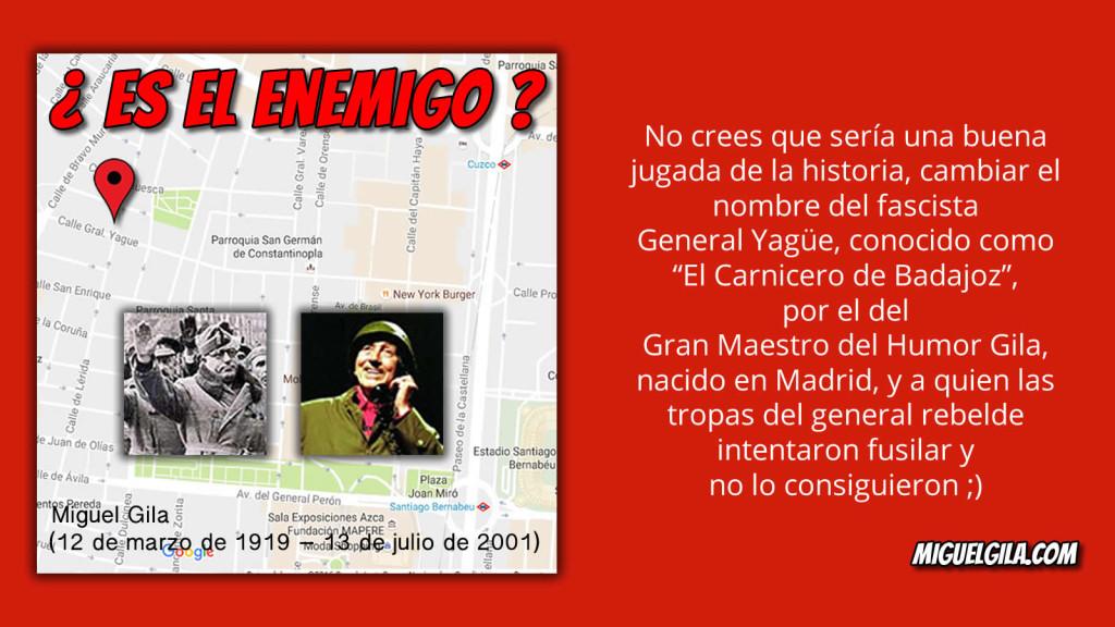 Petición para cambiar en Madrid la calle General Yagüe por Humor de Gila