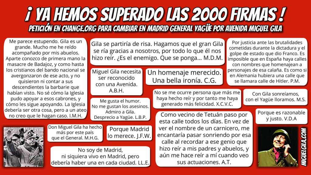 Avenida Miguel gila - General Yagüe - 2000 firmas
