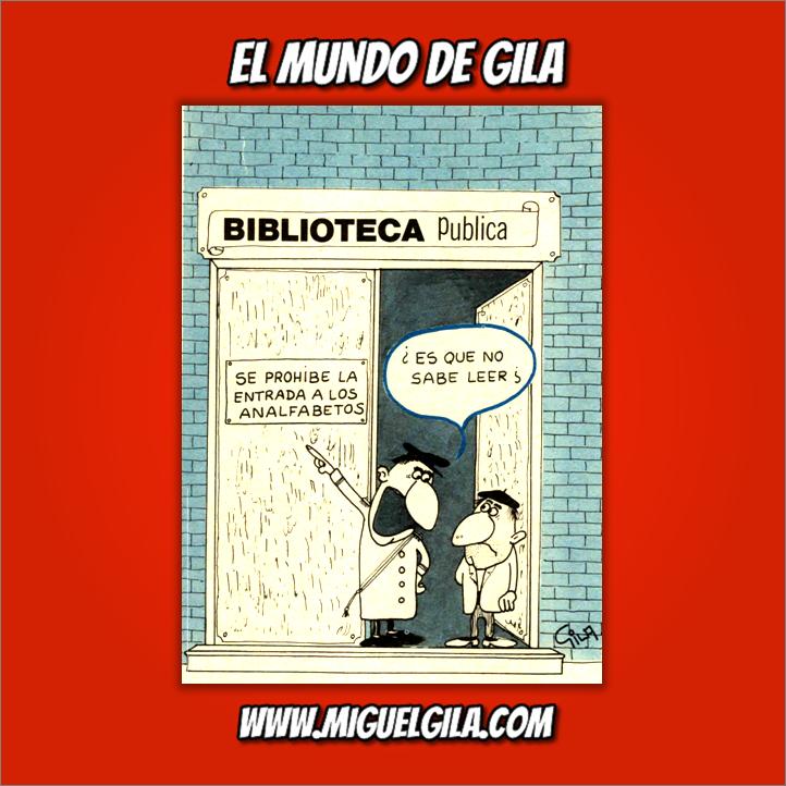 Miguel Gila - Chistes gráficos - Día de las Bibliotecas