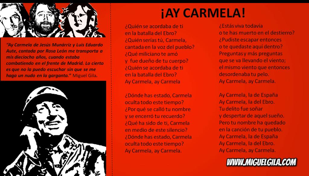 ¡Ay Carmela! de Jesús Munárriz y Luis Eduardo Aute, cantada por Rosa León  - Canción preferida de Miguel Gila