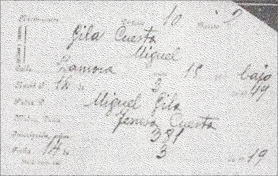 Ficha microfil datos nacimiento de Miguel Gila Cuesta