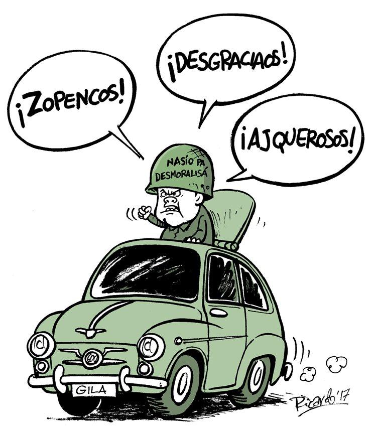 Viñeta de Ricardo Peregrina apoyando la iniciativa #CambiarYagüePorGila #CalleHumorDeGila