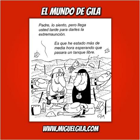Viñeta de Miguel Gila - Chistes gráficos - Ejército - Iglesia - Extremaución