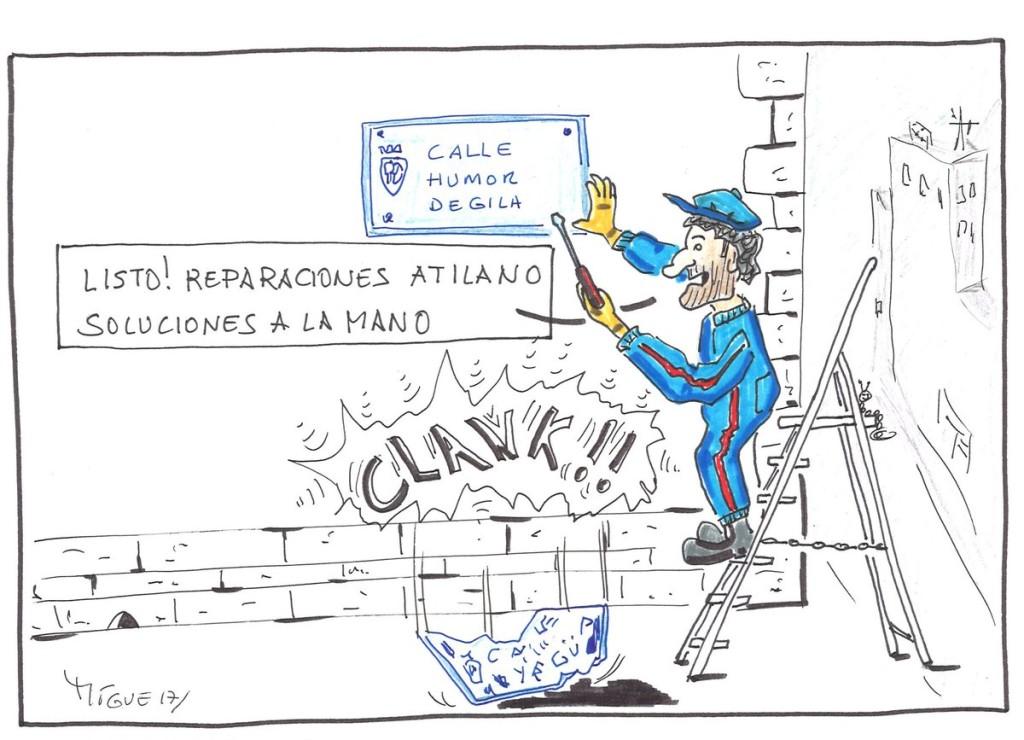 Apoño viñeta de Politiquea a la iniciativa #CambiarYagüePorGila #CalleHumorDeGila