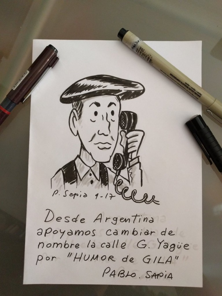 Viñeta de Pablo Sapia - Homenaje a Miguel Gila - Calle Humor de Gila