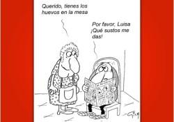 Viñeta Miguel Gila - Cuidado con los huevos