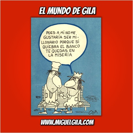 Viñeta de Miguel Gila - Un banco para pobres