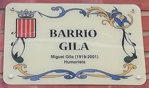 Placa Barrio Gila en Buñol Valencia
